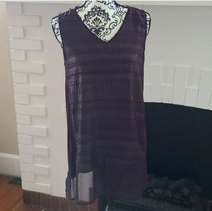 Shimmer tunic Tank Top purple silver sparkle